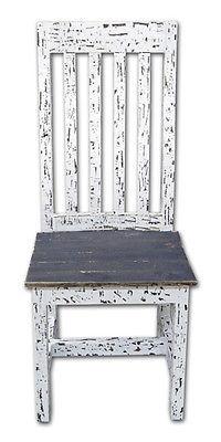 Rustic White Scraped Santa Rita Chair Solid Wood Western Cabin Lodge Dinning