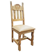 Rustic Padded Vinyl Star Chair Solid Wood Western Cabin Lodge Dinning Room - $232.65