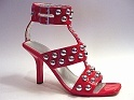 Red Hot Sexy Heel w/ Real Metal Studs Straps Double Buckle Just the Right Shoe