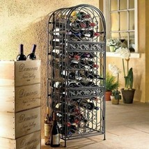 Bronze Wrought Iron Wine Jail Storage Rack 45 Bottle Holder Home Bar Cab... - $205.82