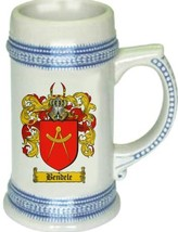 Bendele Coat of Arms Stein / Family Crest Tankard Mug - $21.99