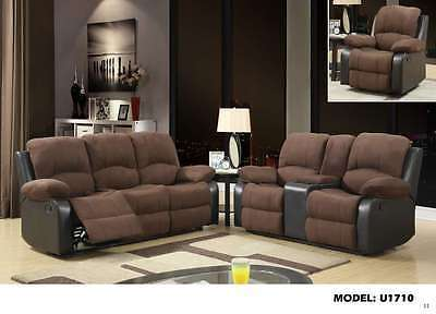 Global U1710 Brown Microfiber & Chocolate Vinyl Reclining Sofa Set