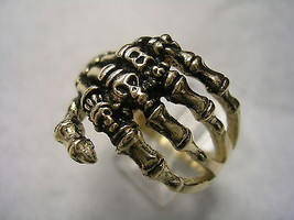 Skeleton Hand With Skulls And Bone Ring In 10 Kt Yellow Gold - $376.15