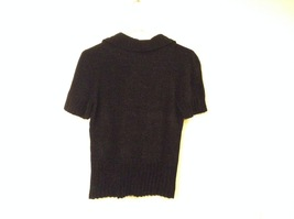Banana Republic Black 100% Rayon Velvety Feel V-Neck T-shirt Blouse Top, size M image 2