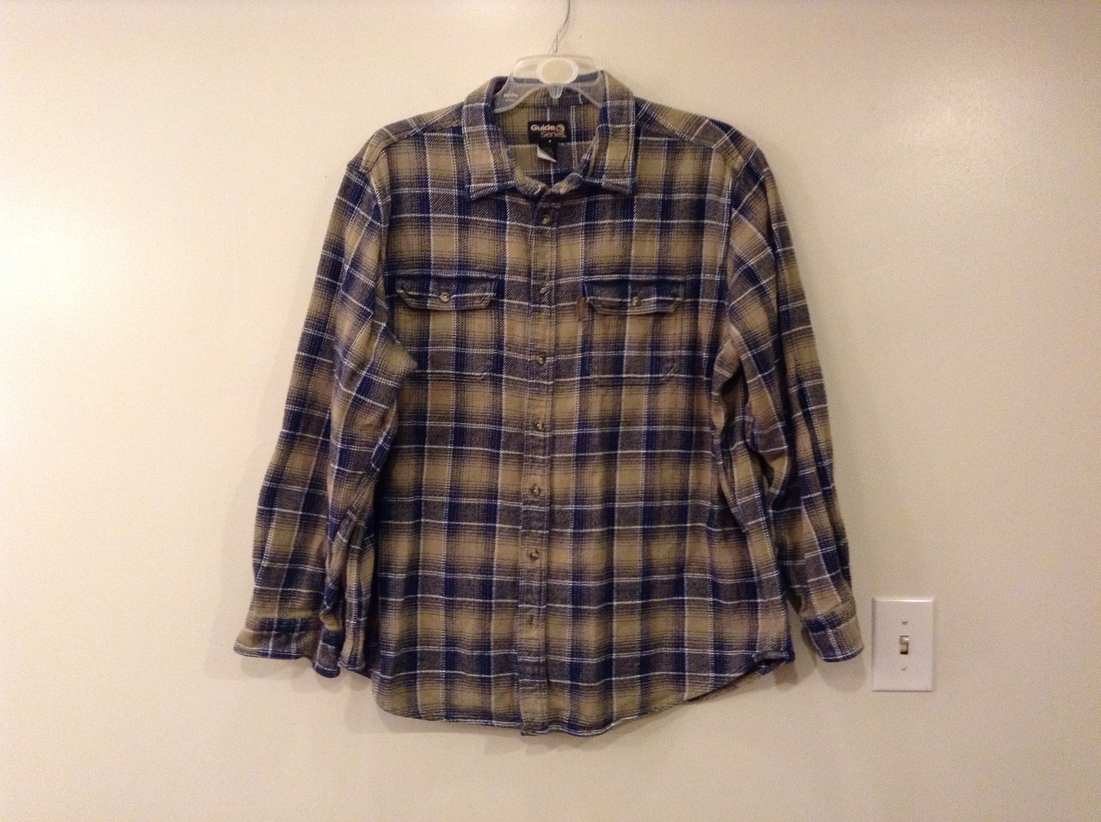 Guide Series Mens 100% Cotton Tan and Blue Plaid Casual Shirt, size 2XLT