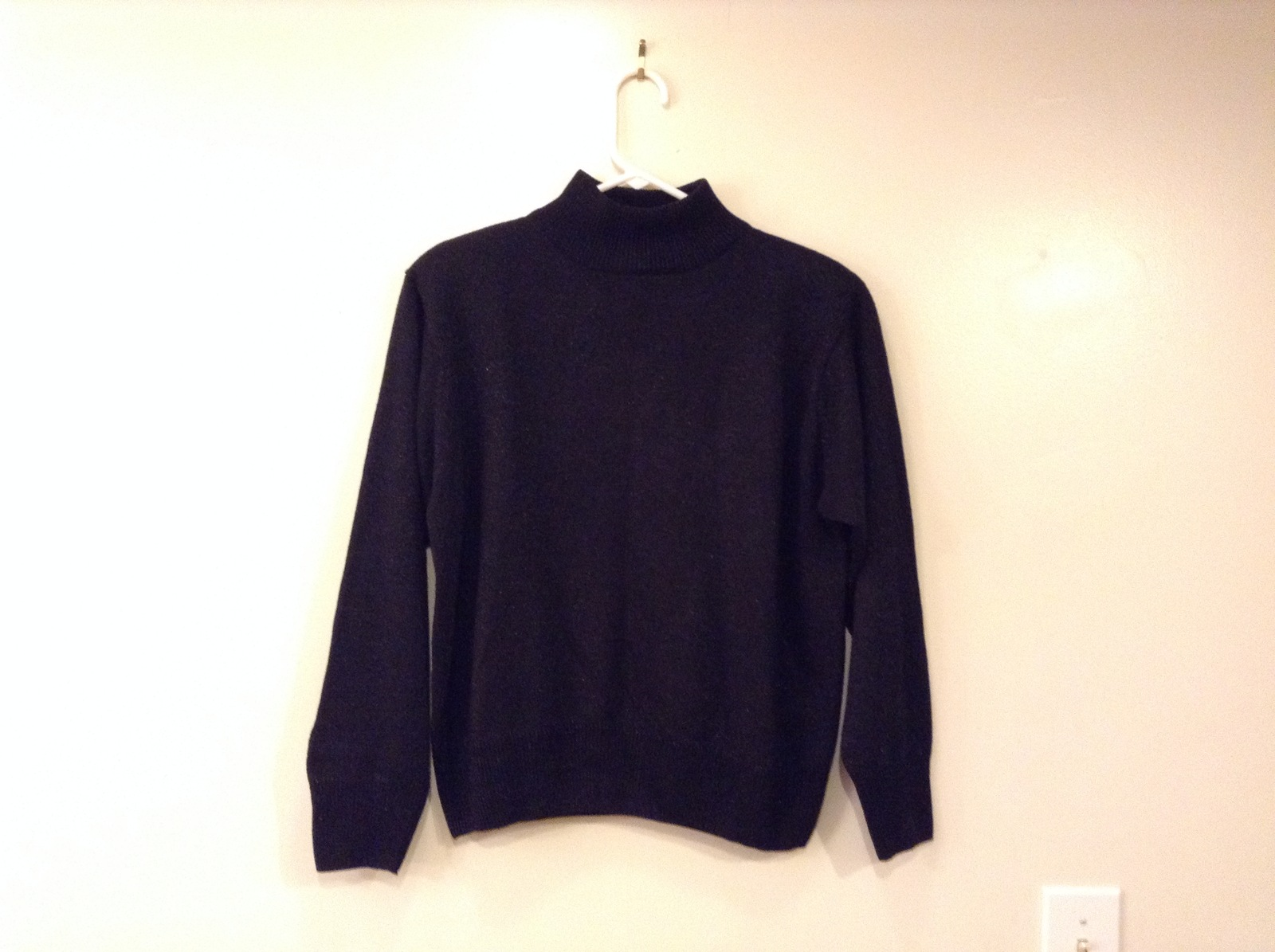 Dress Barn Black Acrylic Mock Turtleneck Sweater with Metallic Thread, size L