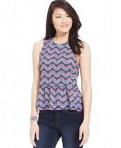 ENERGIE  NEW Womens Printed Peplum Tank Top Shirt Juniors Medium NWT - $11.39