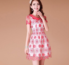 Sweet Women Sunflower Ruffled Lace Organza Embroidery Princess Mini Dress - $19.50