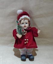 Vintage Porcelain Miniature CHRISTMAS Doll // Vintage Christmas Decor - $8.50