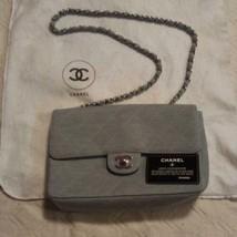Auth CHANEL Vintage Chain Shoulder Bag Blue Matelasse Flap Logo Quilted B5258 - $1,135.53