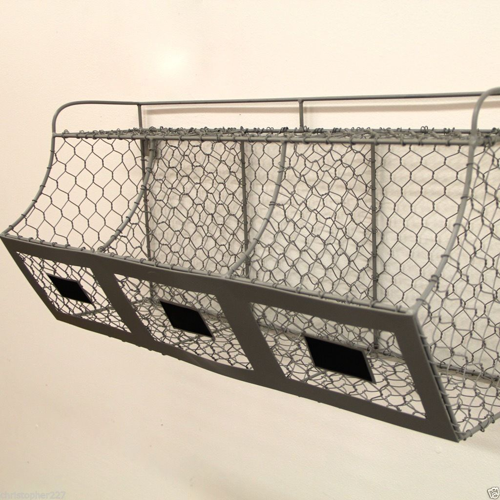 new rustic farmhouse hanging chicken wire wall basket. Black Bedroom Furniture Sets. Home Design Ideas