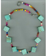 Chunky Turquoise cubes, multi-color magnesite. Free S & H,  - $10.50