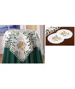 """3 pc Holiday Glow Christmas Table Linens Set 34"""" sq Tablecloth NEW - $14.85"""