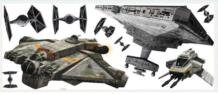 Star wars classic peel and stick wall decals art vii tie for Autocollant mural star wars