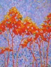 """Akimova: FALL, tree, landscape, purple, acrylic, 18""""x24"""" - $44.00"""