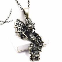 Necklace and pendant, silver 925, bruni satin, dragon, chain rolo image 1