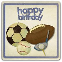 Double 'Happy BIrthday' sports original design handmade card - 15cm x 15cm - $3.25