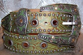 Verdigris Leatherock Belt Crystallized with Swarovski Smoky Topaz Rhines... - $250.00