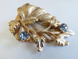 Ivy leaf Floral flower design Gold tone Crystal... - $24.75
