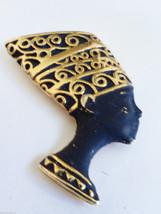 VTG gold tone metal black enamel Nefertiti Egip... - $29.70