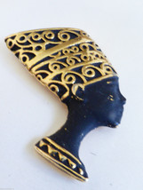 VTG gold tone metal black enamel Nefertiti Egiptian brooch pin - $29.70