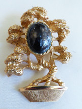 VTG Gold Tone Oval Stone Bonzai mini tree Brooch  Pin - $24.75