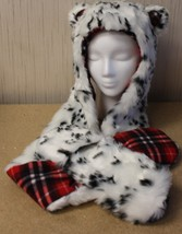 NEW GIRLS OSFM HOODED CRITTER HAT SCARF W EARS FAUX FUR W HAND POCKETS L... - $9.74