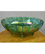 Vintage Iridescent Blue Indiana Carnival Glass Oval Fruit Bowl Footed - $38.68