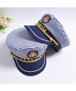 Stripe Captain Navy Hat Marine Skipper cap Sailor Military Nautical Cap ... - $10.86