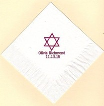 Star Of David 50 Beverage Coctail Personalized Wedding Special Event Napkins - $11.83+