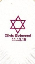 Star Of David 50 Hand Towel / Dinner Personalized Wedding Special Event Napkins - $16.78+