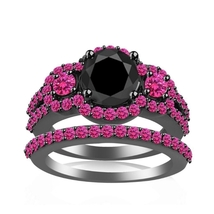 1.45Ct Black CZ & Pink Sapphire 14k Black Gold Fn 925 Silver Engagement Ring Set - $125.00