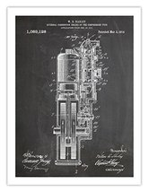 FIRST HARLEY MOTORCYCLE ENGINE POSTER BLACKBOARD INVENTION 1914 US PATEN... - $29.97