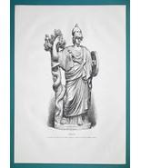 MINERVA Goddess Statue at Torlonia Museum in Rome - 1876 Antique Print - $13.49