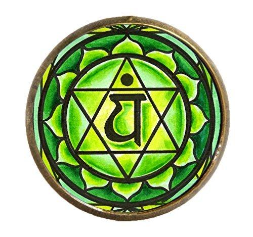"4th Chakra Anahata Heart 1"" Circle Antique Gold Bronze Adjustable Ring"