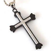 "Men's Black Stainless Steel Cross Silver Cross Inlay Pendant & Bead Chain 24"" - $13.86"
