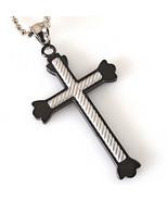 Men's Black Stainless Steel Cross Silver Cross Inlay Pendant & Bead Chai... - $13.86