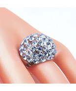 New Clear Acrylic Domed Ring Numerous Blue Swarovski Elements Crystal On... - $27.00