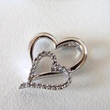 New Woman's 10k White Gold Diamond Double Heart Pendant .10 ct I-J I2-I3 - $148.49