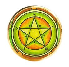 Solomons 1st Pentacle of the Mercury for Personal Magnetism Gold Adjusta... - $14.95