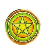 Solomons 1st Pentacle of the Mercury for Personal Magnetism Gold Adjustable Ring - $11.95