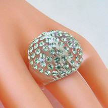 New Clear Acrylic Domed Ring Numerous Green Swarovski Elements Crystal On Dome image 2