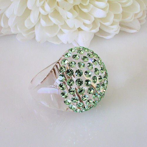 New Clear Acrylic Domed Ring Numerous Green Swarovski Elements Crystal On Dome image 3