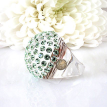 New Clear Acrylic Domed Ring Numerous Green Swarovski Elements Crystal On Dome image 5
