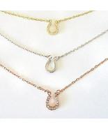New La Preciosa Sterling Silver Tri-Color 3-strand CZ Horseshoe Necklace... - $29.70