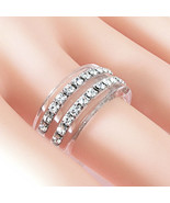 New Clear Acrylic Band Ring 2 Rows Of Swarovski Elements Crystal By Luna... - $25.00