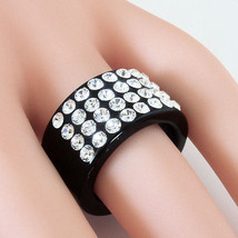 Black Acrylic Band Ring 4 Rows Of Swarovski Elements Crystal By Luna Bianca 6.5 - $38.61