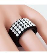 Black Acrylic Band Ring 4 Rows Of Swarovski Elements Crystal By Luna Bia... - $38.61