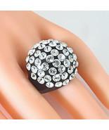 Black Acrylic Domed Ring Clear Swarovski Elements Crystal Rows Dome Luna... - $27.00