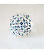 Luna Bianca Blue Clear Swarovski Crystal Clear Acrylic Domed Ring Italy ... - $24.75